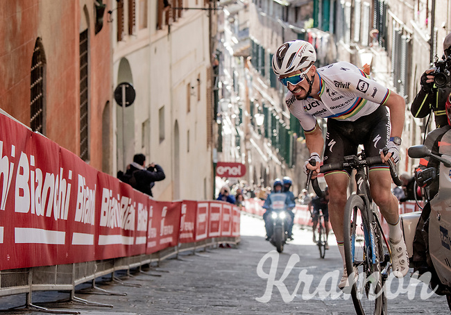 World Champion Julian Alaphilippe (FRA/Deceuninck - QuickStep) coming up just behind race winner Van der Poel on the final steep climb in Siena<br /> <br /> 15th Strade Bianche 2021<br /> ME (1.UWT)<br /> 1 day race from Siena to Siena (ITA/184km)<br /> <br /> ©kramon