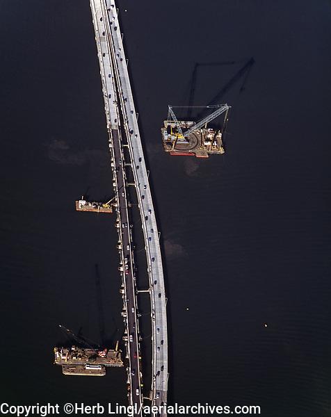 aerial photography Richmond Bridge construction, Contra Costa county California, 2004