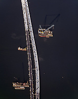 aerial photography Richmond Bridge construction, Contra Costa county California, 2004
