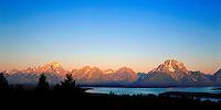 Sunrise on the Teton Range from Signal Mountain in Grand Teton National Park, Wyoming.