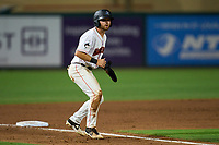 Jupiter Hammerheads J.D. Orr (12) leads off third base during a game against the Palm Beach Cardinals on May 11, 2021 at Roger Dean Chevrolet Stadium in Jupiter, Florida.  (Mike Janes/Four Seam Images)