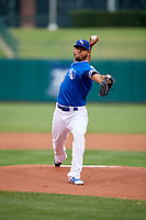 Oklahoma City Dodgers starting pitcher Wilmer Font (45) delivers a pitch during a game against the Colorado Springs Sky Sox on June 2, 2017 at Chickasaw Bricktown Ballpark in Oklahoma City, Oklahoma.  Colorado Springs defeated Oklahoma City 1-0 in ten innings.  (Mike Janes/Four Seam Images)