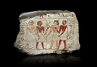 Ancient Egyptian stele of  2 pairs of archers of different ethnic groups, limestone, First Inttermediate Period, (2118-1980 BC), Goblein, Tomb of iti and Neferu, 88967-960-Senebetysy-Stele-Ancient-Egypt Egyptian Museum, Turin. black background<br /> <br /> The stele was wedged into a painting in the east wall of the hallway, Schiaparelli cat 13115