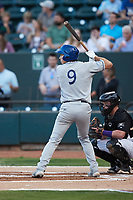 Shay Whitcomb (9) of the Asheville Tourists at bat against the Winston-Salem Dash at Truist Stadium on September 17, 2021 in Winston-Salem, North Carolina. (Brian Westerholt/Four Seam Images)