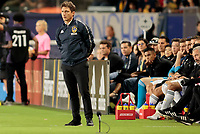 CARSON, CA - SEPTEMBER 21: Guillermo Barros Schelotto head coach of the Los Angeles Galaxy during a game between Montreal Impact and Los Angeles Galaxy at Dignity Health Sports Park on September 21, 2019 in Carson, California.