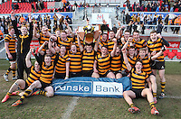 2015 ULSTER SCHOOLS CUP FINAL | Tuesday 17th March 2015<br /> <br /> RBAI celebrate their win after the 2015 Ulster Schools Cup Final between RBAI and Wallace High School at the Kingspan Stadium, Ravenhill Park, Belfast, Count Down, Northern Ireland.<br /> <br /> Picture credit: John Dickson / DICKSONDIGITAL