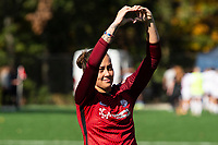 MONTCLAIR, NJ - OCTOBER 03: Kailen Sheridan #1 of Sky Blue FC acknowledges fans after a game between Washington Spirit and Sky Blue FC at Pittser Field on October 03, 2020 in Montclair, New Jersey.