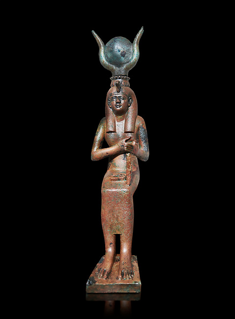 Ancient Egyptian bronze statue , Old Kingdom. Egyptian Museum, Turin. black background.