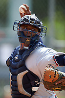 GCL Braves catcher Ruben Perez (51) during practice before a game against the GCL Astros on July 23, 2015 at the Osceola County Stadium Complex in Kissimmee, Florida.  GCL Braves defeated GCL Astros 4-2.  (Mike Janes/Four Seam Images)