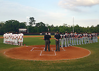 General view of the national anthem before a Lake Mary Rams game against the Lake Brantley Patriots on April 2, 2015 at Allen Tuttle Field in Lake Mary, Florida.  Lake Brantley defeated Lake Mary 10-5.  (Mike Janes/Four Seam Images)