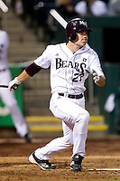 Dylan Becker (27) of the Missouri State Bears follows through his swing during a game against the Purdue Boilermakers at Hammons Field on March 13, 2012 in Springfield, Missouri. (David Welker / Four Seam Images)