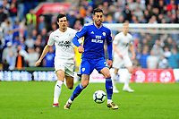 Jack Cork of Burnley vies for possession with Victor Camarasa of Cardiff City during the Premier League match between Cardiff City and Burnley at Cardiff City Stadium in Cardiff, Wales, UK. Sunday 30 September 2018