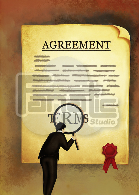 Illustrative image of businessman with magnifying glass reading an agreement