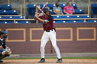 Justin Bowers (19) of the North Carolina Central Eagles at bat against the North Carolina A&T Aggies at Durham Athletic Park on April 10, 2021 in Durham, North Carolina. (Brian Westerholt/Four Seam Images)
