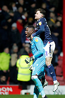 Brice Samba of Nottingham Forest celebrates with Matty Cash during the Sky Bet Championship match between Brentford and Nottingham Forest at Griffin Park, London, England on 28 January 2020. Photo by Carlton Myrie.
