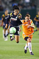 Han Duan #9 of the Los Angeles Sol attempts a shot past Christie Rampone #3 of Sky Blue FC during their WPS game at Home Depot Center on May 15, 2009 in Carson, California.