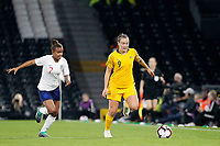 Caitlin Foord of Australia Women and Nikita Parris of England Women during the Women's international friendly match between England Women and Australia at Craven Cottage, London, England on 9 October 2018. Photo by Carlton Myrie / PRiME Media Images.
