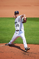 Cedar Rapids Kernels starting pitcher Cody Stashak (30) during a game against the Dayton Dragons on July 24, 2016 at Perfect Game Field in Cedar Rapids, Iowa.  Cedar Rapids defeated Dayton 10-6.  (Mike Janes/Four Seam Images)
