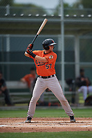Baltimore Orioles Cody Roberts (57) bats during a Minor League Spring Training game against the Boston Red Sox on March 20, 2019 at the Buck O'Neil Baseball Complex in Sarasota, Florida.  (Mike Janes/Four Seam Images)