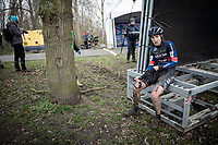 Lucinda Brand (NED/Baloise Trek Lions) doesn't seem too happy after finishing<br /> <br /> 2021 Flandriencross Hamme (BEL)<br /> women's race<br /> <br /> ©kramon