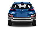 Straight rear view of 2021 Hyundai Kona-Hybrid Sky 5 Door SUV Rear View  stock images