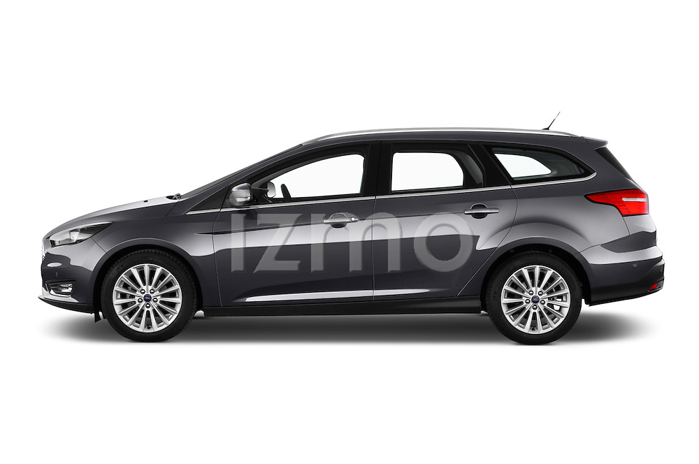 Car Driver side profile view of a 2015 Ford Focus Titanium 5 Door Wagon Side View