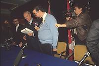 Montreal (QC) CANADA - 1990 ile photo -Les Bleus Poudre question Pierre Trudeau at his book launch