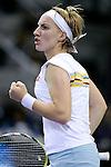 Russia's Svetlana Kuznetsova celebrates during her WTA Masters Championships tennis match in Madrid, November 06, 2007. (ALTERPHOTOS/Alvaro Hernandez).