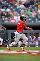 Erie SeaWolves Jose Azocar (24) at bat during an Eastern League game against the Akron RubberDucks on August 30, 2019 at Canal Park in Akron, Ohio.  Erie defeated Akron 3-2.  (Mike Janes/Four Seam Images)
