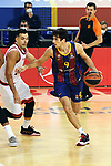 Turkish Airlines Euroleague 2020/2021. <br /> Regular Season-Round 9.<br /> FC Barcelona vs Olympiacos Piraeus: 88-96.<br /> Kostas Sloukas vs Leandro Bolmaro.