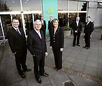 Enda Corneille, Commercial Director (Left) with Dermot Mannion, Chief Executive, Niall Walsh, Deputy Chief Executive, Stephen Kavanagh, Planning Director, Liz White, Human Resources Director, Dick Butler, Ground Operations Director and Greg O'Sullivan, Finance Director (right), pictured here at the Companies Management Announcement at their headquarters in Dublin. Pic. Robbie Reynolds / Corporate PR.