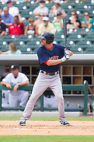 Justin Henry (7) of the Pawtucket Red Sox at bat against the Charlotte Knights at BB&T Ballpark on August 8, 2014 in Charlotte, North Carolina.  The Red Sox defeated the Knights  11-8.  (Brian Westerholt/Four Seam Images)