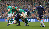 Saturday 10th March 2018 |  Ireland vs Scotland<br /> <br /> Dan Leavy is tackled by John Barclay during the NatWest 6 Nations clash between Ireland and Scotland at the Aviva Stadium, Lansdowne Road, Dublin, Ireland. Photo by John Dickson / DICKSONDIGITAL