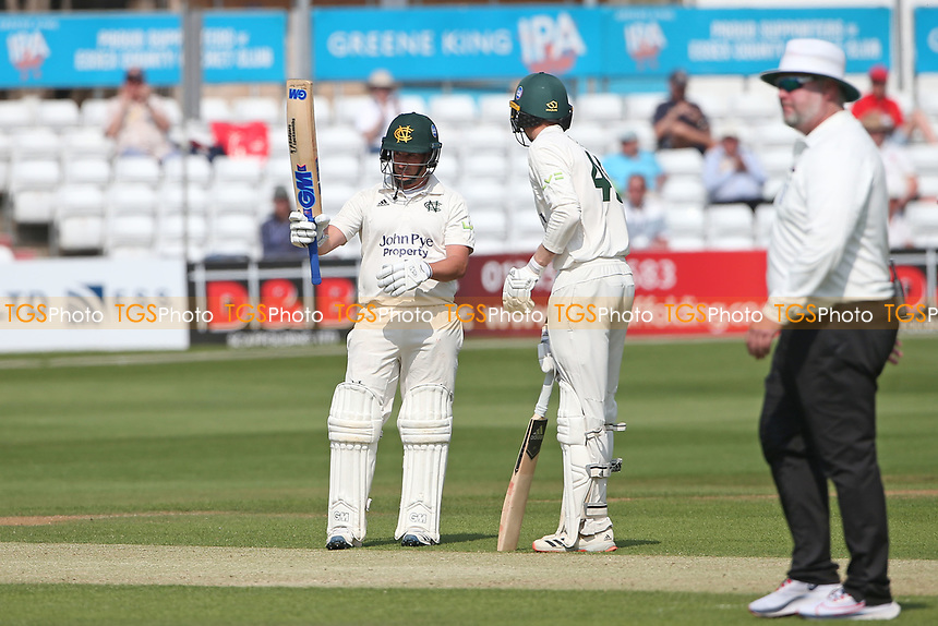 Steven Mullaney of Nottinghamshire raises his bat to celebrate reaching his fifty during Essex CCC vs Nottinghamshire CCC, LV Insurance County Championship Group 1 Cricket at The Cloudfm County Ground on 3rd June 2021