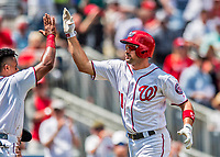 16 August 2017: Washington Nationals first baseman Ryan Zimmerman celebrates his 2-run homer in the first inning against the Los Angeles Angels at Nationals Park in Washington, DC. The Angels defeated the Nationals 3-2 to split their 2-game series. Mandatory Credit: Ed Wolfstein Photo *** RAW (NEF) Image File Available ***