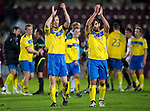 Hearts v St Johnstone...03.12.11   SPL .Steven Anderson and Callum Davidson applauds the saints fans at full time.Picture by Graeme Hart..Copyright Perthshire Picture Agency.Tel: 01738 623350  Mobile: 07990 594431