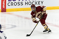 WORCESTER, MA - JANUARY 16: Caroline Goffredo #24 of Boston College brings the puck forward during a game between Boston College and Holy Cross at Hart Center Rink on January 16, 2021 in Worcester, Massachusetts.