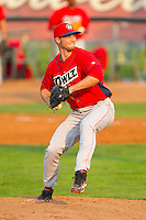 Orem Owlz relief pitcher Jake Boyd (34) in action against the Ogden Raptors at Lindquist Field on July 29, 2012 in Ogden, Utah.  The Owlz defeated the Raptors 6-4.   (Brian Westerholt/Four Seam Images)