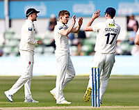 Matt Milnes (C) of Kent is congratulated after taking the wicket of Daryl Mitchell during Kent CCC vs Worcestershire CCC, LV Insurance County Championship Division 3 Cricket at The Spitfire Ground on 5th September 2021