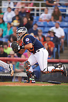 Binghamton Mets catcher Xorge Carrillo (44) during a game against the Trenton Thunder on August 8, 2015 at NYSEG Stadium in Binghamton, New York.  Trenton defeated Binghamton 4-2.  (Mike Janes/Four Seam Images)