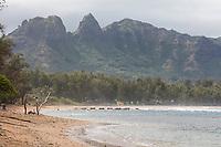 A woman sits at the shore, Anahola Beach, Kawaihau district of Kaua'i.