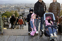 A Chechen father with is wife and there 6 years old boy, 5 and 2 years old daughter, at the foot of the Sacré-Coeur Church, on Montmartre hill in Paris..He was a car mechanic in a garage, in the front of the Presidential place in Grozny. He was also a watchman at night, in the same garage. Since the second invasion in 1999, the garage repair a lot of cars belonging to the independentis and some night the garage was use as a shelter for the Chechens. .Some proRussian civilians, permanently denounce him to the FSB and to the Russian force. So, he decide to go underground. But Kadirov men break several time into the father house, asking where is son was hid.  .He get arrested, interrogated and imprisoned several time.  .His father pray him to go broad..They left Grozny in June 2005 to Ingushetia. There, they pay 5000.- us dollar to be smuggle in the back of a lorry to Paris, via Ukraine..It now 4 months they are in Paris, they receive 600.-Euro per month from the ASSEDIC (unemployment office)..He still have is father and is mother alive, in Grozny. She lose all here family and relative in the Albi massacre..(The 5 February 2000, at the village of New Aldi, in Zavadskoi district near Grozny, The Russian army, lead by General Chamanov, destroy, steal, reap and murder hundred of innocent civilian in one day. Among them, the wife family and friends). .He say: When the Russian bombardment kill civilians on the Bazaar (market), on village and in city, he have a permanent feeling of not be, of not be a human being anymore. .What are your expectation here ?.He say: the simple fact, to not be permanently afraid. To not be shoot at every corner,   Thank you