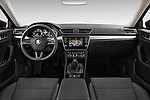Stock photo of straight dashboard view of 2016 Skoda Superb Ambition 5 Door Hatchback Dashboard