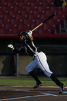 Luis Marte (16) of the High Desert Mavericks bats during a game against the Inland Empire 66ers at Mavericks Stadium on May 6, 2015 in Adelanto, California. Inland Empire defeated High Desert, 10-4. (Larry Goren/Four Seam Images)