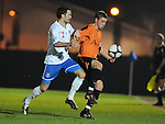 Steve Clarke puts County's Paul Cochlin under pressure. Newport County V Eastleigh, Blue Sqaure South © Ian Cook IJC Photography, 07599826381,  iancook@ijcphotography.co.uk, www.ijcphotography.co.uk
