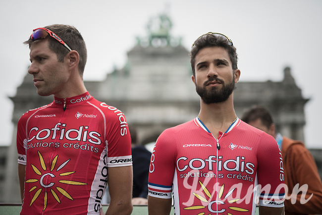 Nacer Bouhanni (FRA/Cofidis) on the presentation podium <br /> <br /> Brussels Cycling Classic 2016