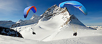 Paragliders in the Swiss Alps near the Jungfrau peak - Swiss Alps - Switzerland