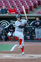 Great Lakes Loons catcher Brant Whiting (1) at bat during a Midwest League game against the Wisconsin Timber Rattlers on April 26th, 2016 at Fox Cities Stadium in Appleton, Wisconsin.  Wisconsin defeated Great Lakes 4-3. (Brad Krause/Four Seam Images)