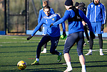 St Johnstone Training…. 06.01.21<br />Scott Tanser pictured with Chris Kane during training at McDiarmid Park ahead of Saturday's game against local rivals Dundee Utd.<br />Picture by Graeme Hart.<br />Copyright Perthshire Picture Agency<br />Tel: 01738 623350  Mobile: 07990 594431