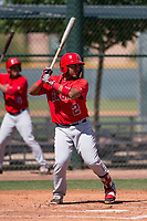 Los Angeles Angels catcher Mario Sanjur (2) at bat during an Extended Spring Training game against the Chicago Cubs at Sloan Park on April 14, 2018 in Mesa, Arizona. (Zachary Lucy/Four Seam Images)